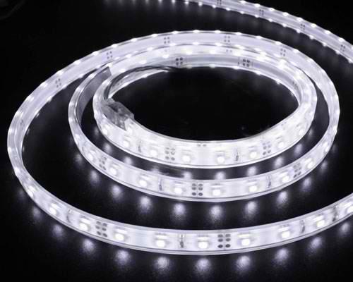 Banda LED flexibila, SMD5050, 12V DC, 7,2W/M, 30 LED-uri/M, alb rece, 5m, nerezistenta la apa-0