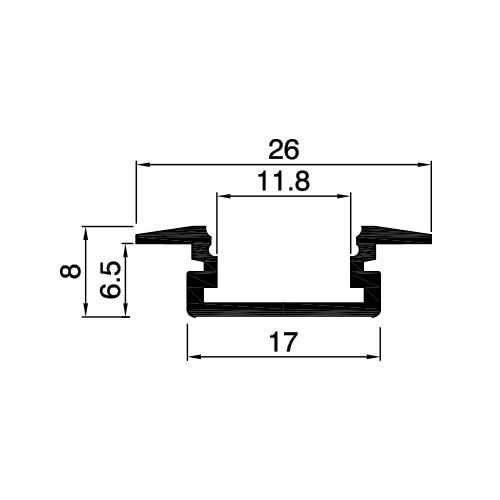 PROFIL DE ALUMINIU PENTRU BENZI FLEXIBILE CU LED, DE MICA ADANCIME, 2M-2164