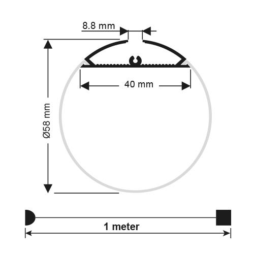 PROFIL DE ALUMINIU PENTRU BENZI FLEXIBILE CU LED, CILINDRU Ø 60MM, 2M-1916
