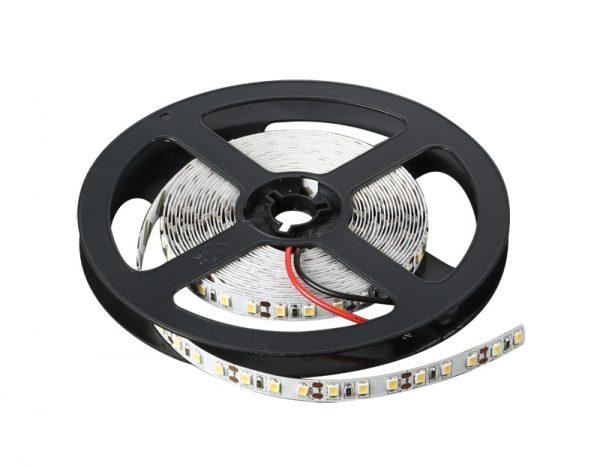 Banda LED flexibila, SMD2835, 12 V DC, 4.8W/m, 60LED-uri/M, alb cald, 5 m, nerezistenta la apa-0