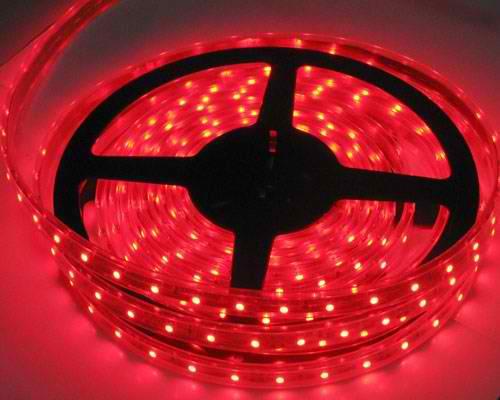 Banda LED flexibila, SMD2835, 12V DC, 4.8W/M, 60LED-uri/M, rosu, 5m, nerezistenta la apa