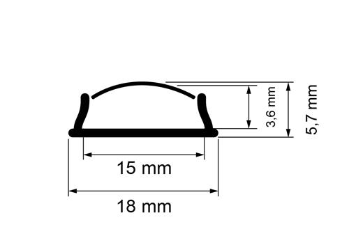 PROFIL DE ALUMINIU PENTRU BENZI FLEXIBILE CU LED, DE MICA ADANCIME,FLEXIBIL, 2M-2599