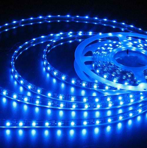 Banda LED flexibila, SMD2835, 12V DC, 4.8W/M, 60LED-uri/M, albastru, 5m, nerezistenta la apa