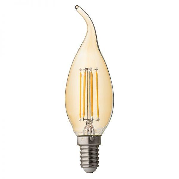 BEC LED, Filament Dimabil flame 4W, E14, 2500K, 220V AC, amber-0