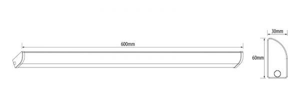 Corp de iluminat led, liniar, slim, 18W,4200K, IP44 cu senzor de prezenta-6750